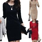 Winter Womens Pencil Long Sleeve Dress Office Wear Ladies Wiggle Dresses Sz 0-6