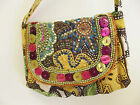Ethnic Oriental sling bag with buttons, embroidery and beadwork , bright colours