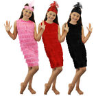 CHILDS FLAPPER FANCY DRESS COSTUME GIRLS MOLL 1920'S OUTFIT GATSBY GANGSTER