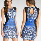Women's Celebrity Leopard Pattern Sleeveless Bodycon Cocktail Party Mini Dress