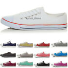 WOMENS LADIES GIRLS LOW TOP LACE UP SPORTY FLAT CANVAS TRAINERS PUMPS SHOES SIZE