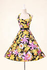 Vintage 50s 60s Pinup Swing Cocktail Prom Cotton Floral Rockabilly Evening Dress