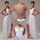 Womens Chiffon Split Beaded Wedding Evening Gown Prom Cocktail Bridesmaid Dress