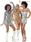 Ladies 1970s Sequinned Disco Fancy Dress Costume Adult Womens Size 8 10 12 14