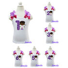 Girls Embroidered Bling Doc McStuffins Purple  1st-6th Birthday White Tank Top