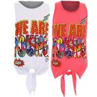 Girls Comic Glitter Print Sleeveless We Are Young Tie Up Children's Vest Top
