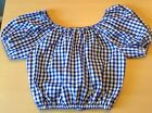 Navy and white gingham cropped top