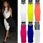 Ladies Celeb Inspired Nicole Fish Net Contrast Racer Bodyocn Women's Midi Dress