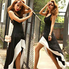 M L XL Summer Fashion Women Sexy Scoop Neck Backless Asymmetric Dress Sundress Y