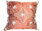 """20"""" FLORAL EMBROIDERED WIRE ZARDOZI INDIAN PILLOW CASE CUSHION COVER HANDCRAFTED"""