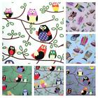 OWLS - CUTE OWL DESIGNS 100% COTTON FABRIC BY THE METRE