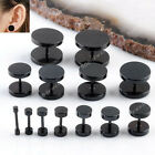 Pair 2mm-14mm Stainless Steel Fake Cheater Ear Plugs Tunnels Ear Studs Earrings