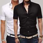 FREE P&P Mens Short Sleeve Tops Button Design Shirts Casual Slim Fit Dress Shirt