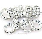15Pcs Cute Silver/Gold Plated Clear Crystal Rhinestone Big Hole Spacer Beads