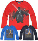 Boys Star Wars Long Sleeve Top Kids T Shirt Red Blue Navy New Age 3 4 6 8 Years