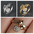 LOVE YOU Letter Heart Dangle 18K Yellow GOLD FILLED White Topaz RING Size 7 Gift