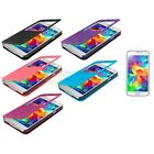 For Samsung Galaxy S5 Front S-View Flip Window Case Cover + Screen Protector