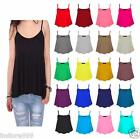 NEW  LADIES PLAIN SLEEVELESS STRAPPY SWING VEST CAMI CASUAL TANK TOP  PLUS SIZE