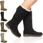 WOMENS LADIES GIRLS FLAT HIGH CALF KNEE QUILTED FUR LINED WINTER SNOW BOOTS SIZE