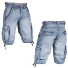 Mish Mash 2136 Lt Kingstone Mens New Denim Cargo Shorts Size 28 30 32 Was £59.99