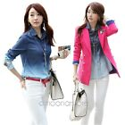 New Women's Long Sleeve Casual Tops &Blouse Gradient Jean T shirt US 2 6 8 10 12