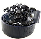 Tobacco Road Italian Leather Belt Crown Skull Buckle Rocker Style Belt Blue Belt