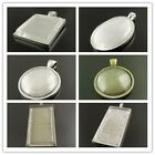 1X Bronze Sillver Alloy Round Oval Rectangle Bezel With Glass Raised Pendant