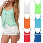 New Hot Women Candy Color Chiffon Spaghetti Tee Shirt Strap Tank Blouse Top Vest