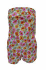NEW LADIES WOMEN BOOB TUBE FLORAL PRINT SHORTS DRESS PLAYSUIT SUMMER SIZE UK8-14