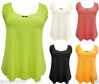 WOMENS SCALLOP EDGE SLEEVELESS STRETCHY NEON LADIES VEST TOP SUMMER PARTY 8-16UK