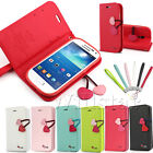PU LEATHER CHERRY STAND FLIP WALLET CASE COVER FOR SAMSUNG GALAXY S4 MINI I9190