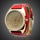 Fashion Luxury Women Lady Unisex Gold Stainless Steel Quartz Leather Wrist Watch