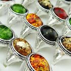 Hot Sale 10-30pcs Vintage Amber Antique Silver Women Mens Rings Wholesale Lots