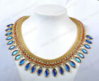 New Fashion Golden Chain Olivary Royal Blue Crystal Choker Necklaces & Pendants
