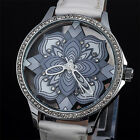 Embossing Leather Strap Flower Rhinestone  Dial Quartz Analog Women Watches Gift