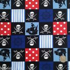 per 1/2 metre/fat quarter 100 % cotton skull/swords pirates fabric 112cm wide