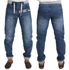 MENS ENZO EZ294 MID-WASH CUFFED JOGGER STYLE JEANS ALL SIZES  28 TO 48