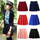 Womens Cotton Retro Stretch High Waist Plain Skater Flared Pleated Mini Skirt Q