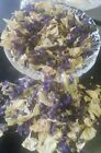 Dried Ivory Rose Petals & Blue/PurpleMalva in Small Organza Bags/Weddings/Crafts