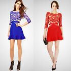 Three Floor Style Womens Celeb Eyelash Lace Mesh Mini Dress Bodycon Dress M16#