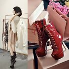 News Womens Sexy Patent Leather Lace Up Stiletto Heeled Platform Ankle Boots