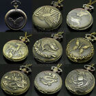 Bronze Antique Vintage Animals Pocket Pendant Necklace Quartz Pocket Watch Chain