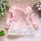 Girls Baby Skirt Long Sleeve Cotton T-shirt Top Dress Shirt Age 1-3 Year BT08