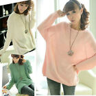 Womens Personality Batwing Round Neck Knitted Pullover Jumper Loose Sweater-usMO