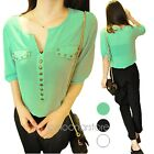 New Funky Rivet Half Sleeve V-Neck Pullover Chiffon Casual Loose Tops Blouses