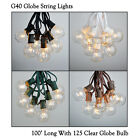 100 ft G40 Outdoor Patio Party Globe String Lights -100 Sockets -125 Clear Bulbs