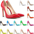 WOMENS Patent PU Leather HIGH HEEL CORSET STYLE PUMPS COURT SHOES UK Size 2 - 9
