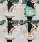 New woman canvas shopping school bag Tote with Starbucks print H48cm*W34cm*D13cm