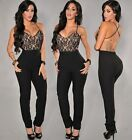 ~Black Lace Bust Backless Cross Strap Jumpsuit Brand New  M L~