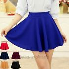 1Pc Women's Stretch Waist Pleated Jersey Plain Skater Flared Mini Skirt